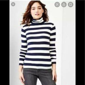 gap the Bowery navy & white striped turtleneck